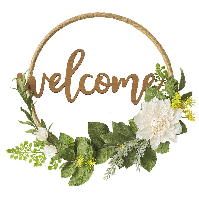 Ling's moment Floral Hoop Wreath, DIY Paper Flower Wreath w Wood Welcome Sign, Handmade 16 inch Dahlia & Vine Wedding Wreath, Fall Decor Wreath for Christmas Wall Door Wedding Ceremony Backdrop