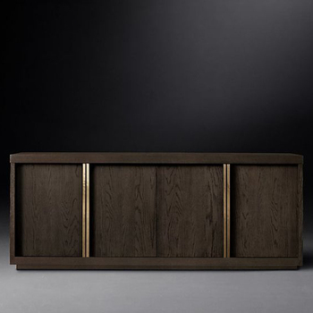 Modern Style Large Oak Soild Wooden Sideboard with 4 Door