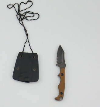 mini utility knife with Khaki G10 handle black kydex sheath and ball chain necklace