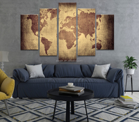 Customized Abstract World Map 5 Panel Print Canvas Wall Art Painting