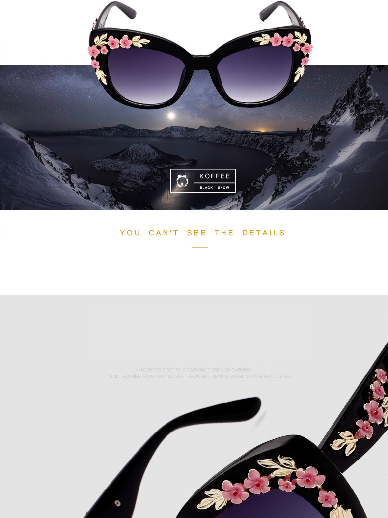 Luxury Queen Baroque Sunglasses Metal Rose Flower Vintage Eye wear Oversized Brand Design Sun glasses for women Oculos CC0037