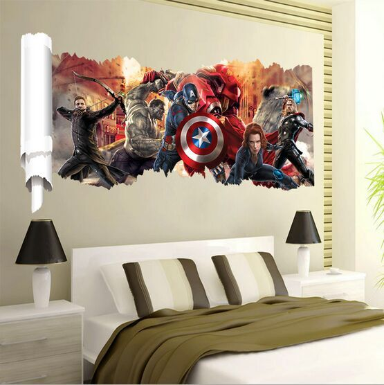 (New) 2017 New Spiderman Removable Children Room Wall Stickers for Kids Rooms Avengers DIY Bedroom Sticker 3D Wall Stickers
