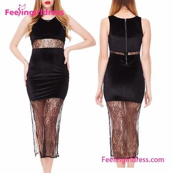 6a4ca8997c7 Модные черные классические пикантные женские длинные летние платья для  девочек