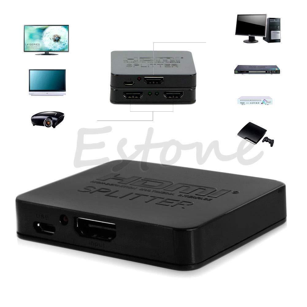 FidgetFidget View HD HDMI Switch Splitter 1 Input to 2 Output 1x2 in Mini Case Switch Box Hub