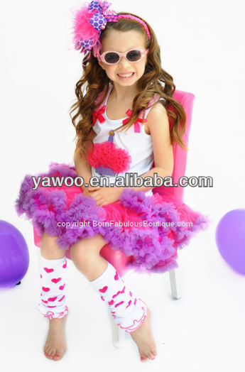 Newest Kids Girl's Birthday Outfit Toddler Hot Pink and Purple Cupcake Set Spring Clothing Suit Holiday Dress Sets Pettiskirt