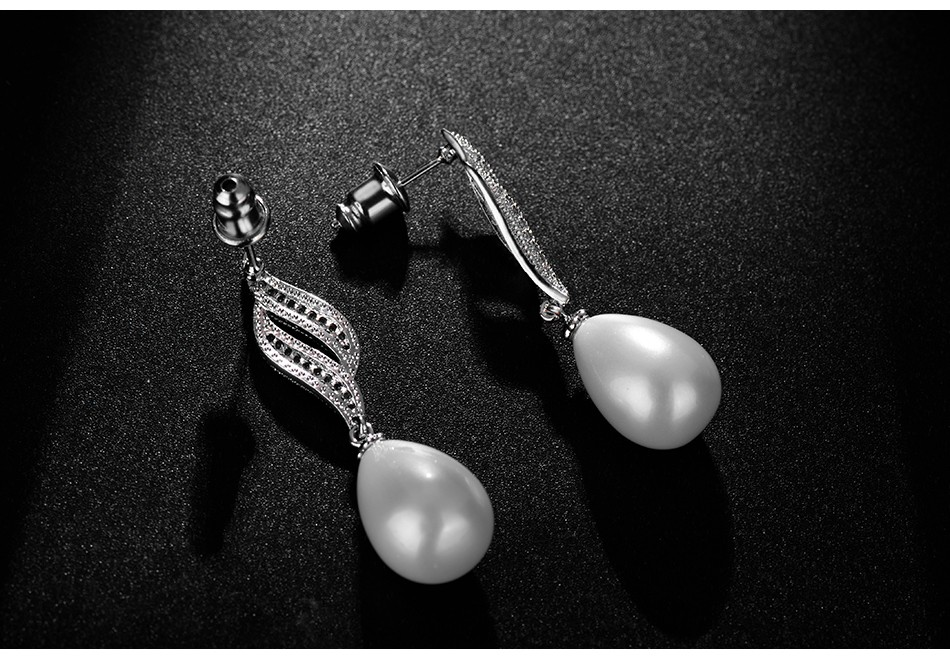 LUOTEEMI Cubic Zirconia Silver-color Fashion Bridal Simulated White Water Drop Pearl Earrings