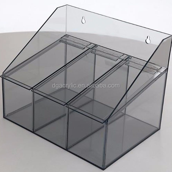 Perspex Plastic Clear Wall Mounted Acrylic Storage Bins