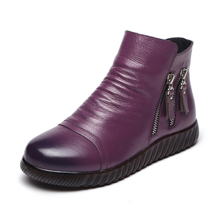 National style Winter Snow Boots Genuine Leather Women Shoes