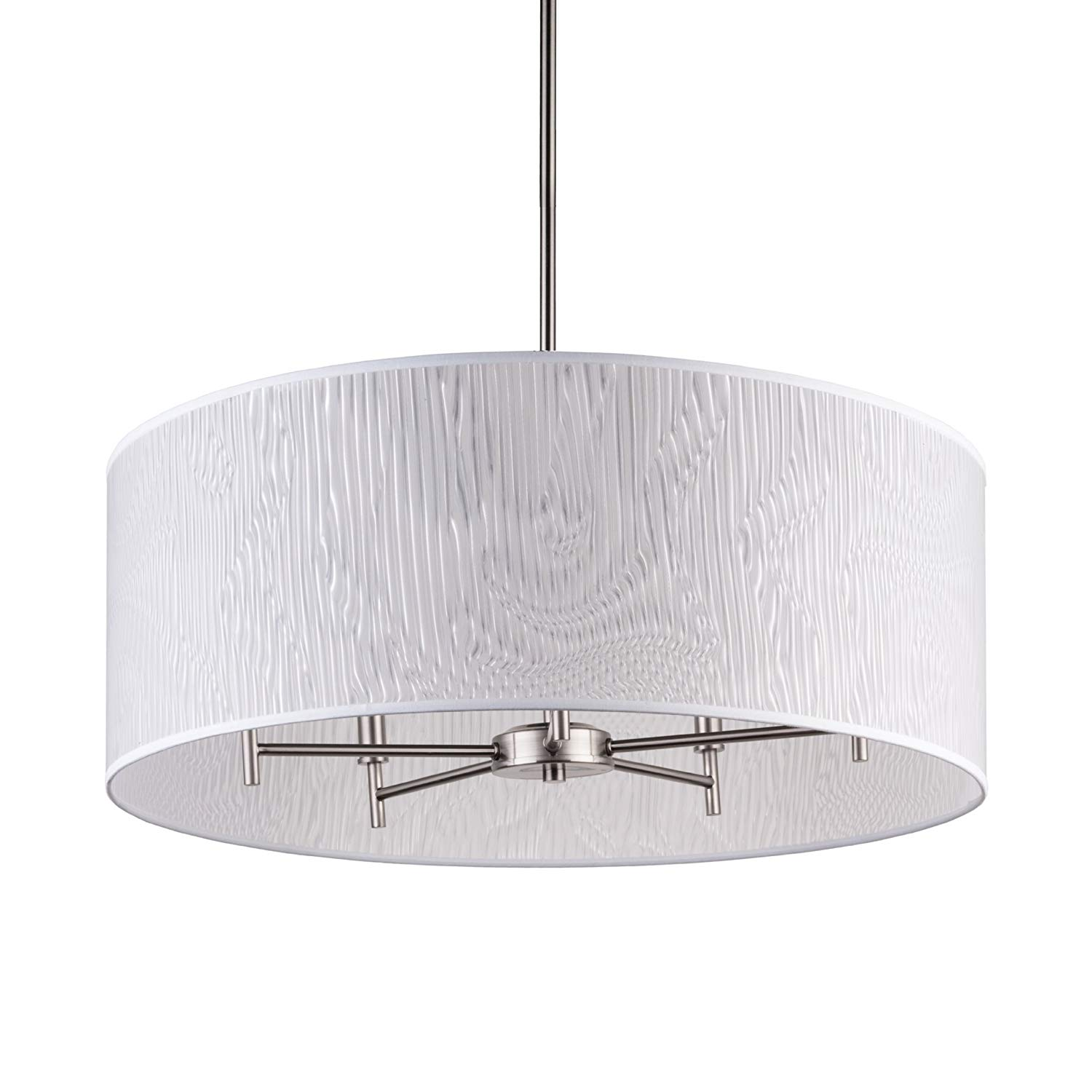 "Lights Up! TS-9050BN-OPT Walker 5-Arm Drum Chandelier, 24"" x 24"" x 36"", Brushed Nickel Finish"