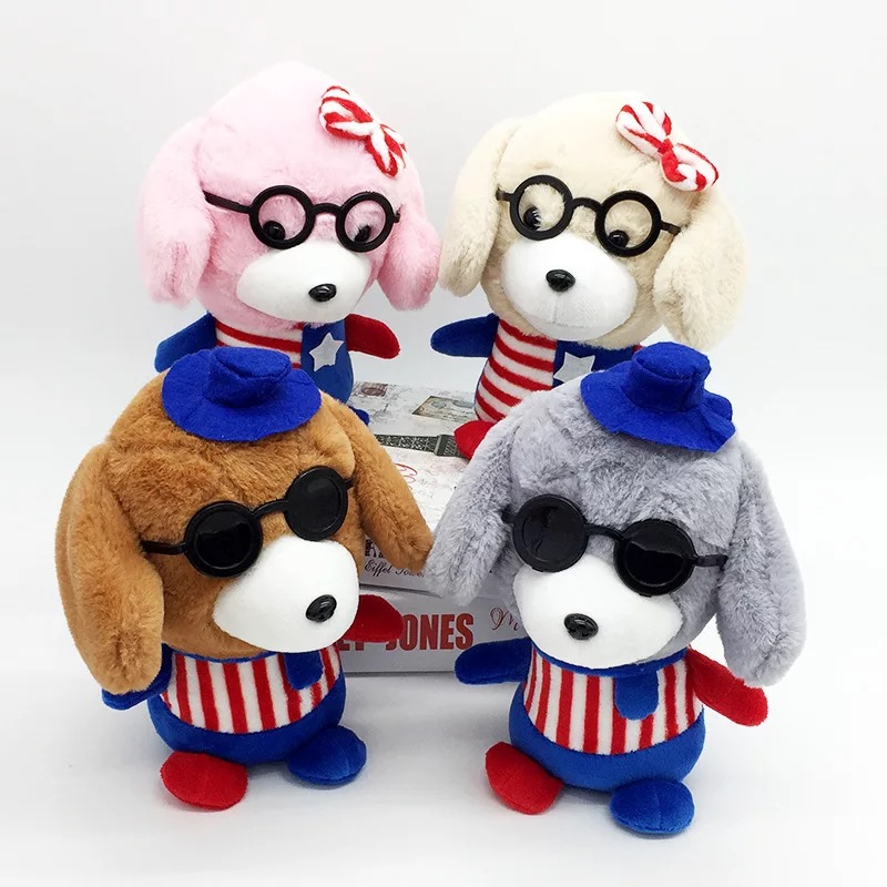 Wholesale best made cuddly mini dog plush toys with glasses for kids toys crane machine toys