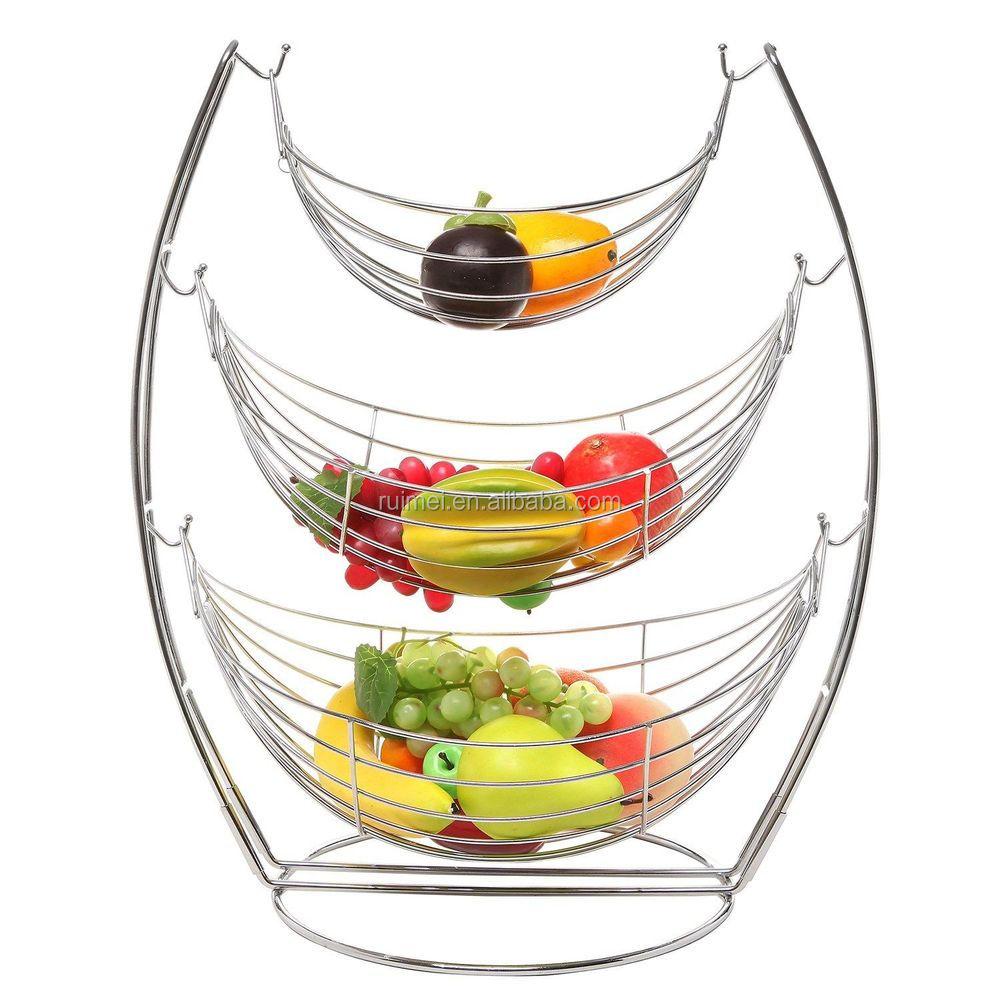 Table Top Design 3 Tier Metal Fruit Basket Stand Buy