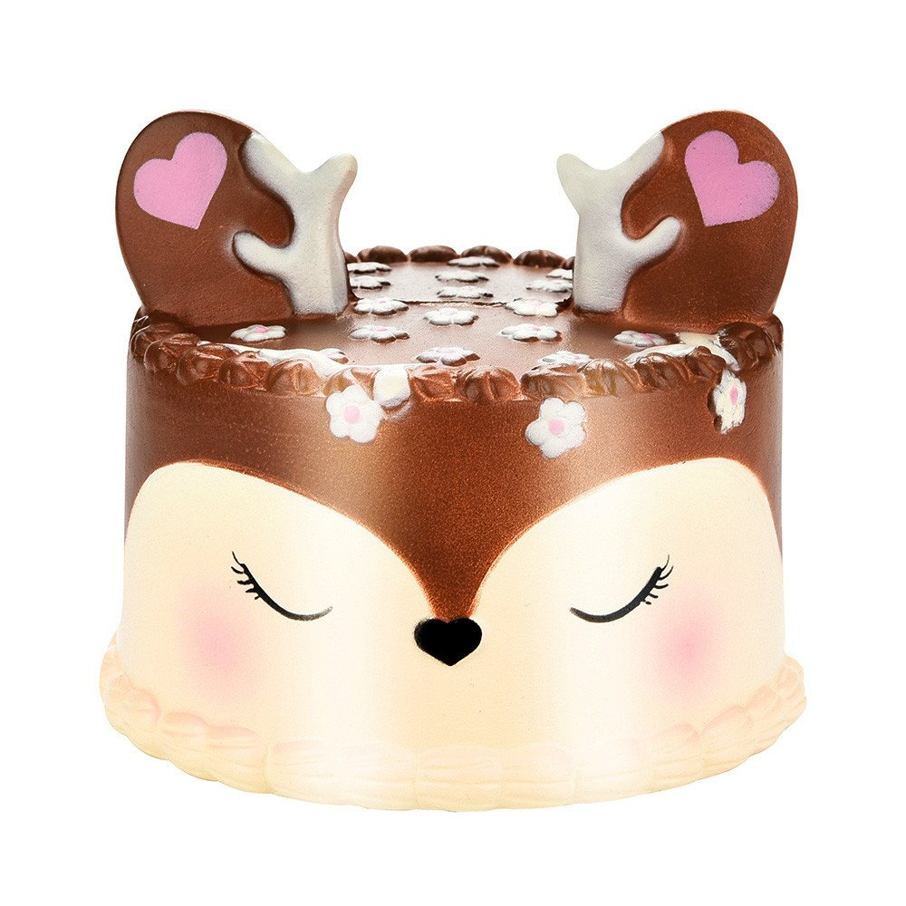 Chanyuhui Slow Rising Squishis Jumbo Kawaii Unicorn Cake Scented Squishy Stress Reliever Fun Simulation Kid Toy Pendant (Brown)
