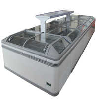 Supermarket frozen food curved glass door freezer