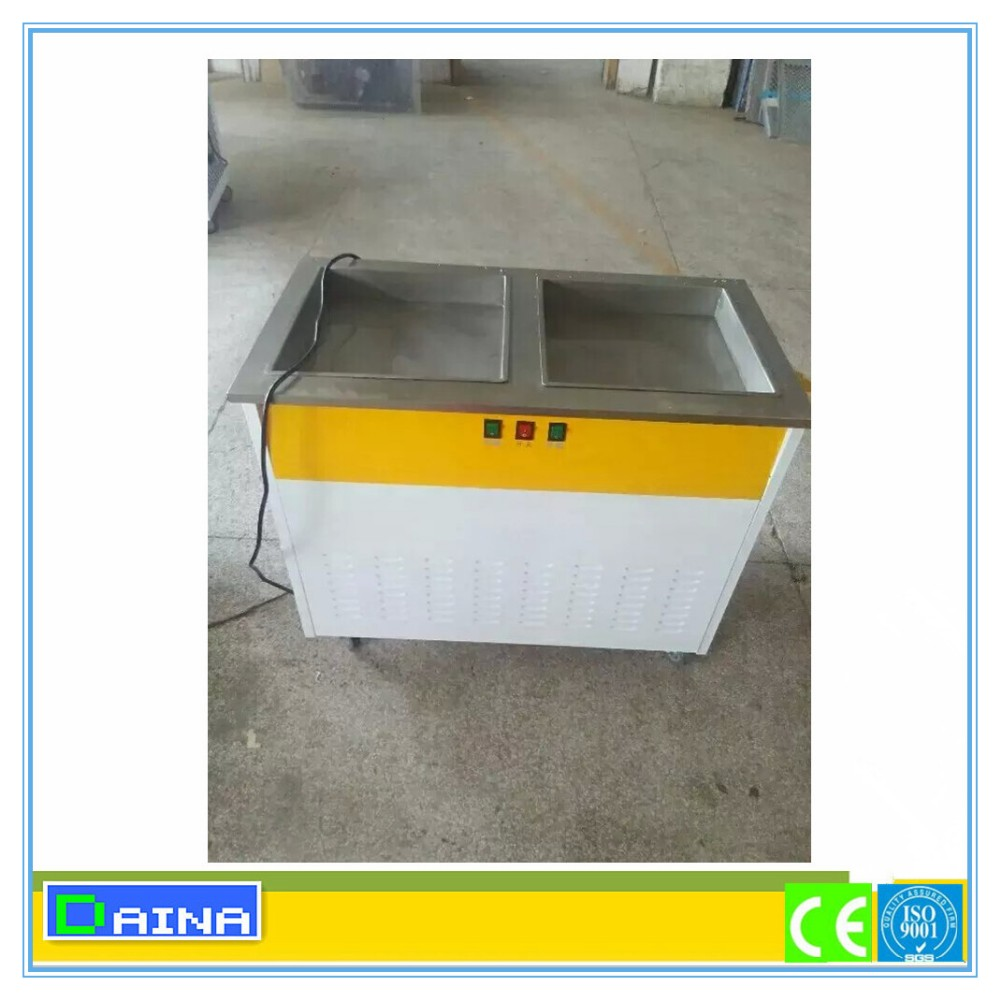 Commercial Used Single Pan Thailand Style Fried Ice Cream Roll Machine For Instant Ice Cream Roll
