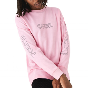 100% Cotton Long Sleeve Pink T Shirt for Men