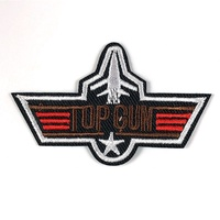 Top Gun Fighter Warplane ShapeTwill Material Sew Or Iron-on Embroidered Patches Applique