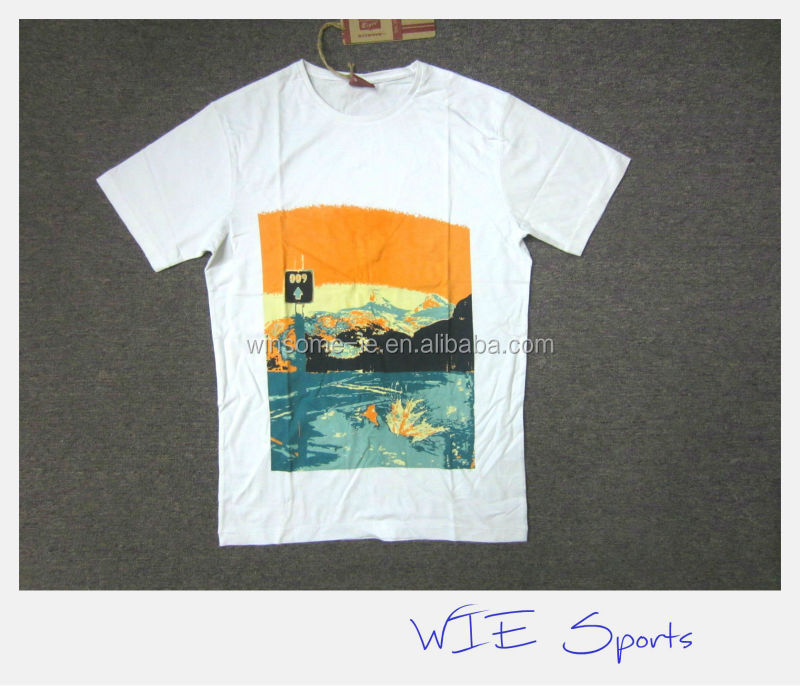 Best price surfer style Mens100% cotton washed & printed customized T-shirt