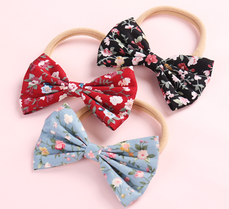 Fashion baby floral fabric large bow headband