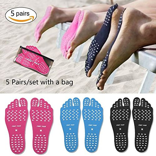 ecseo Beach Foot Pads for Unisex Barefoot Lover,Stick on Soles,Invisible Shoes Stick on Foot Pads,Foot Stickers,Nakefit Stick on Soles With Anti-Slip and Waterproof,5 Pairs/Pack