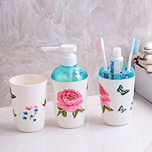 Kisstaker 3 Pieces Plastic Bathroom Accessory Sets Toothbrush Holder Tumbler  Soap Dish Soap Dispenser