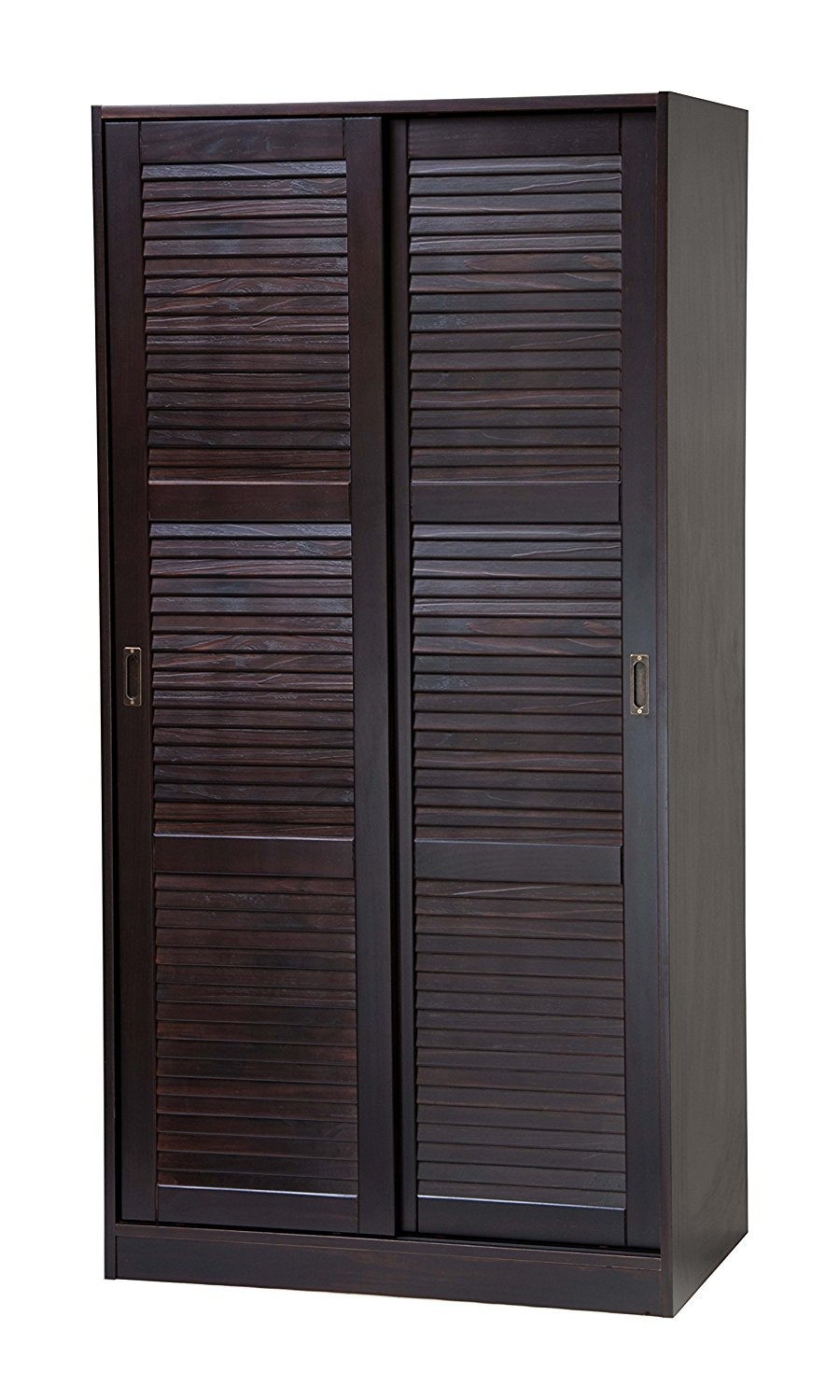 100 Solid Wood 2 Sliding Door Wardrobe Armoire Closet Mudroom Storage By Palace Imports Java Color 1 Large Shelf Clothing Rod Included Extra