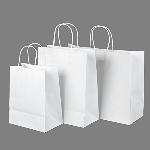 "8""x4.75""x10""-10""x5""x13""-16""x6""x12"" - 50Pcs Each size - Halulu White Kraft Paper Bags, Shopping, Mechandise, Party, Gift Bags"