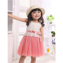 Girls Baby Lace Tank One Piece Tutu Dress Bow knot Belt Tulle Dress 1 5Y Outfit