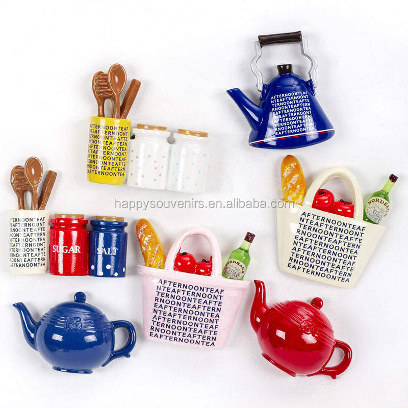 New Style Afternoon Tea 3D Resin Fridge Magnets Book Shape , Coffee And Bread Refrigerator Magnets