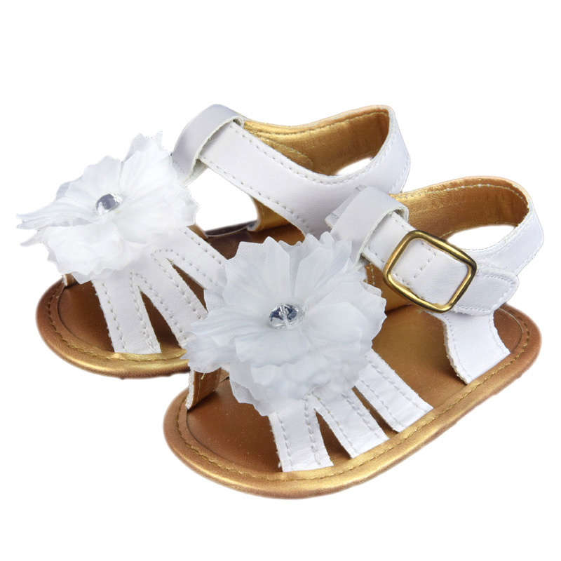 2015 New Summer Girls Flower Sandals White Color Slip Casual Flat with Shoes Toddler Shoes for 0-18 Month Baby Girls CQ108