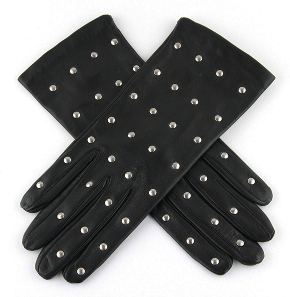 lady fashion silver rivet black leather gloves