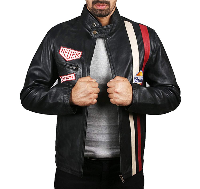 9e0c2654a Buy Mens Leather Jacket - Le Mans Steve McQueen Gulf Jacket Black in ...