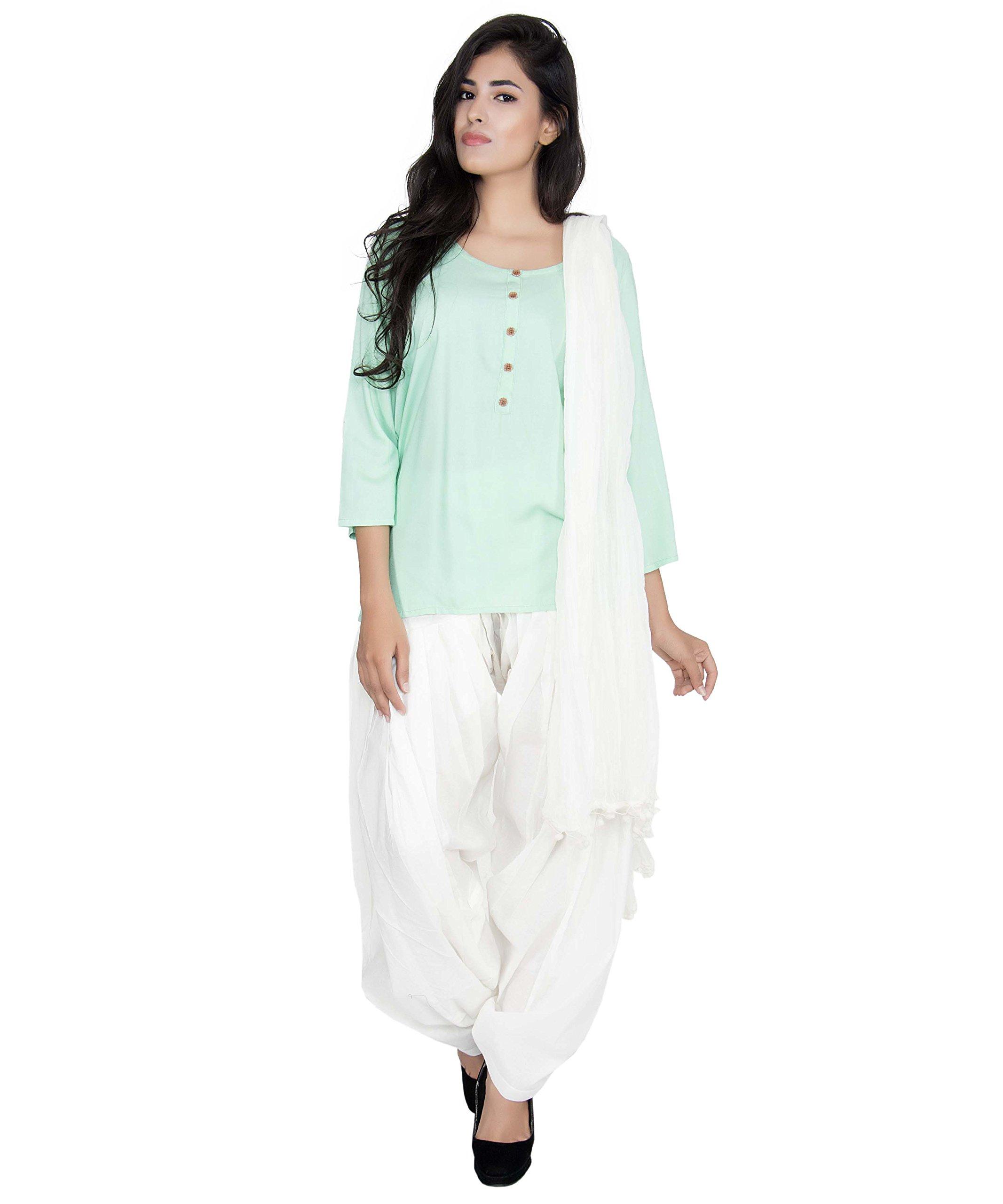 12ebd8af42 Get Quotations · Arva Women Patiala Salwar + Scarf | Patiyala | Off-White |  Yoga Dhoti Pants