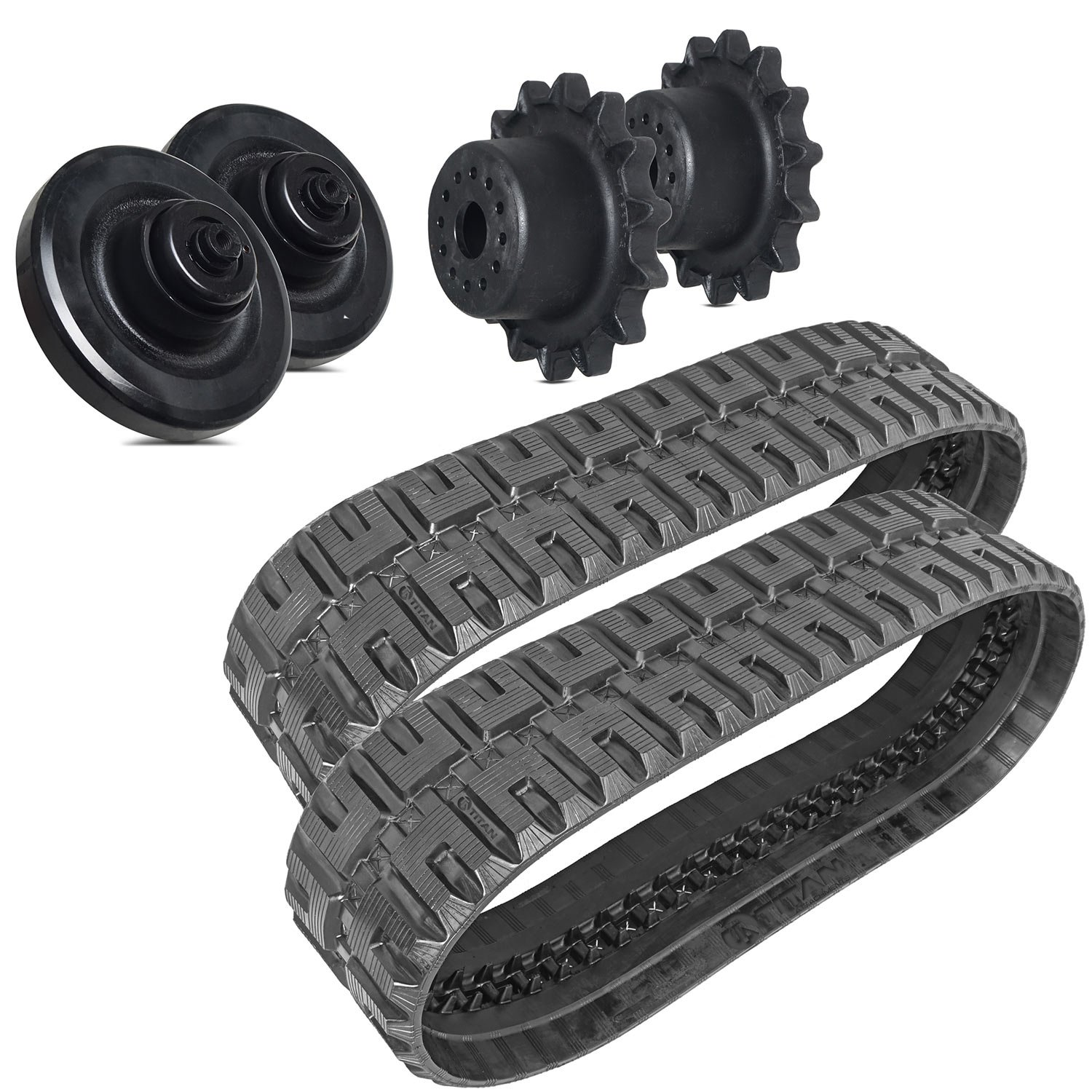 Titan Combo Rubber Tracks, Rear Idlers, & Drive Sprockets - Bobcat T180 T190