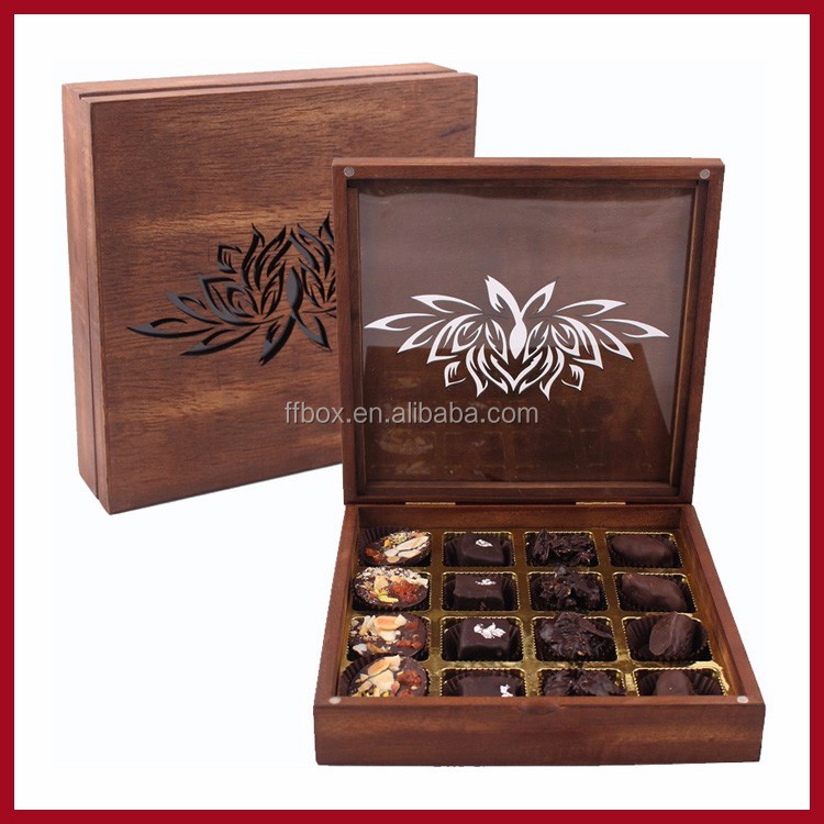 New Design Laser Cut Walnut Chocolate Box Luxury Fancy