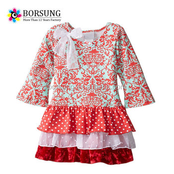 06a301eca57 Latest cotton frock design girls elegant european style ruffle fashion tutu  dress cotton kids clothing custom