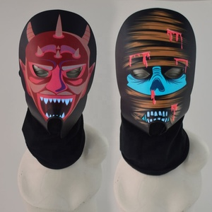 Party Cosplay Props Led Rave Face EL Panel Mask With Fabric Halloween Light Up Sound Activated EL Panel Mask