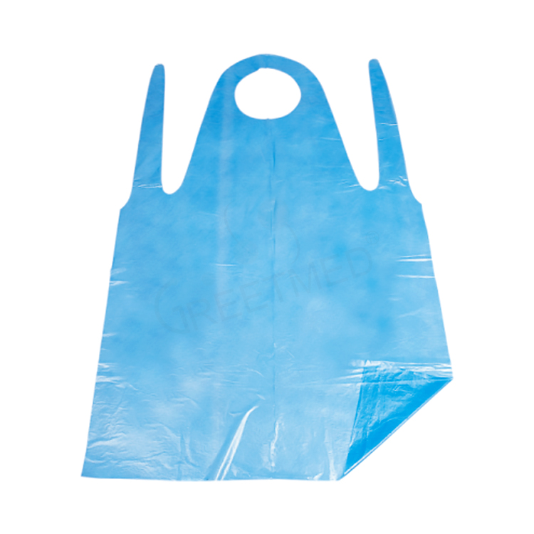 Cheap price waterproof medical white blue plastic disposable pe apron