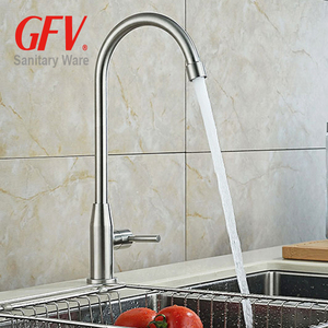 Long neck save water faucet 304 stainless steel cold water sink tap