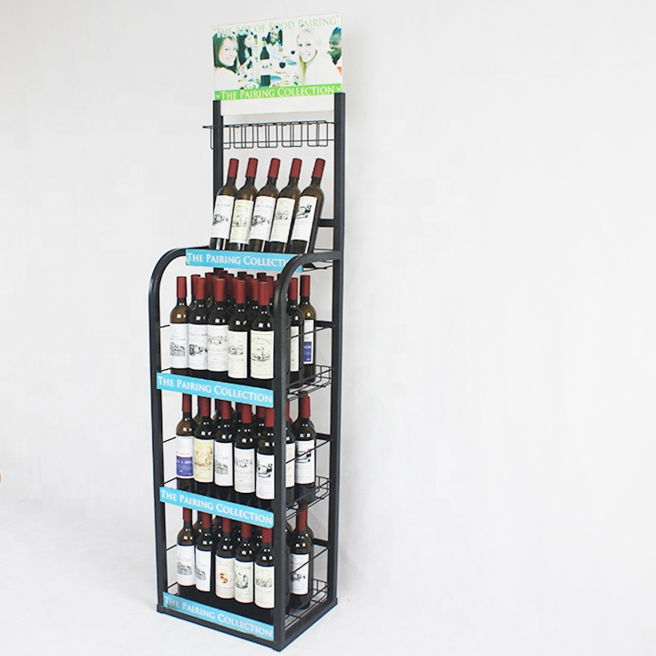 flooring stand metal beer bottle display rack shelf for supermarket and <strong>retails</strong>