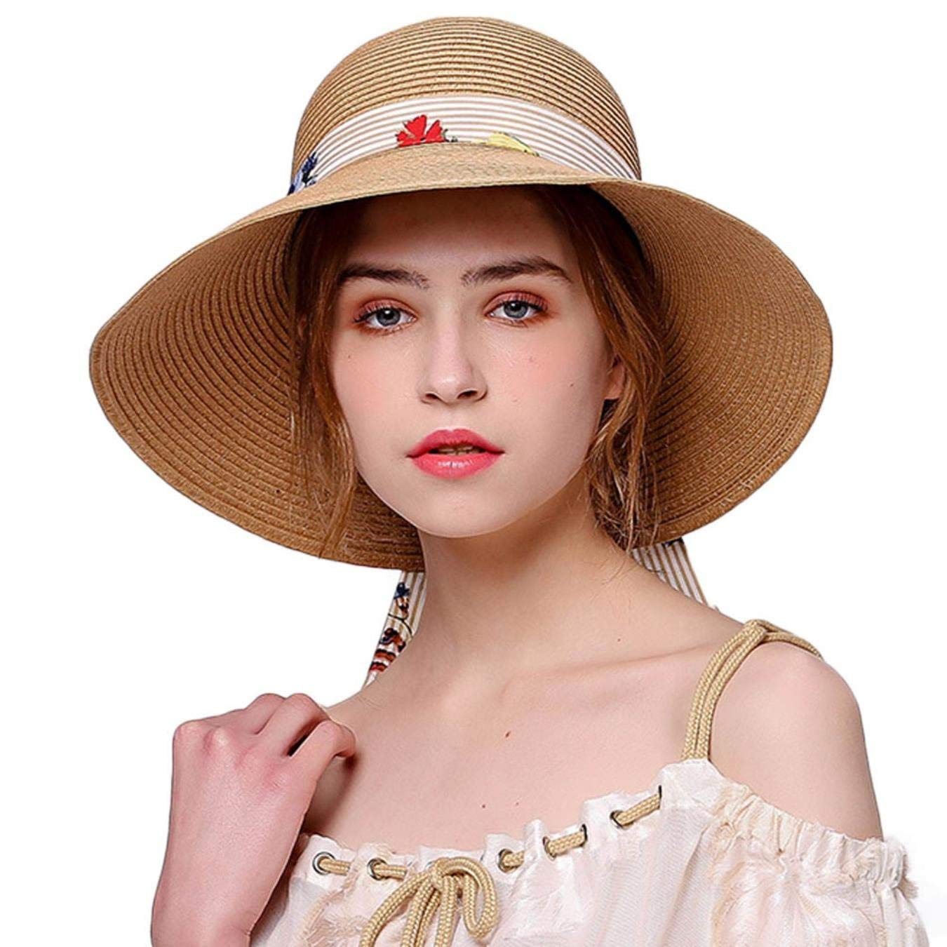 27adea6087a Straw Hat for Women Wide Brim Floppy Sun UV Beach Fashion Hats Cap with  Stripe Ribbon Bowknot Sombreros