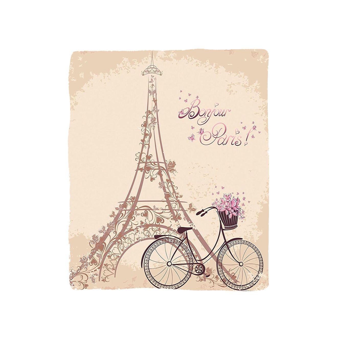 VROSELV Custom Blanket Paris Collection Bonjour Paris Eiffel Tower and Vintage Bicycle with Flowers Retro Soft Color Art Print Bedroom Living Room Dorm Cream Pink