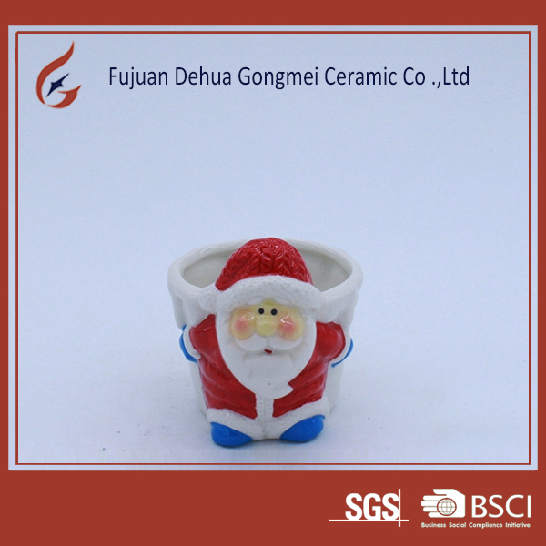 indoor decoration ceramic santa claus flower pot planter