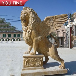 Outdoor decorative wings antique marble lion statues for sale