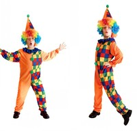Halloween Cosplay Costumes Children's Colorful Grid Clown Jumpsuit with Hat