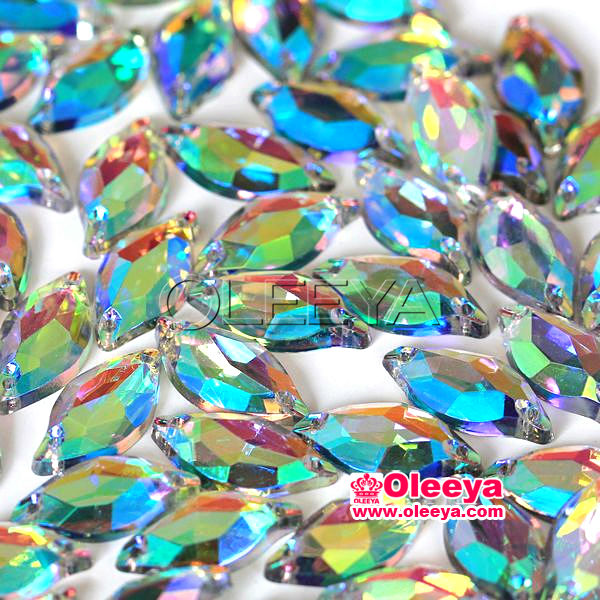100%Good quality Crystal ab color leaf shape 9-20mm Acrylic sew on rhinestone.Fashion shiny sew on flatback stones for clothing