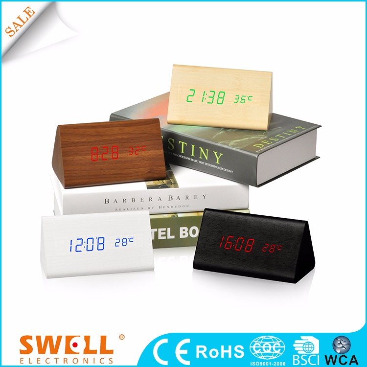 digital led decoration wood desk alarm clock battery operate