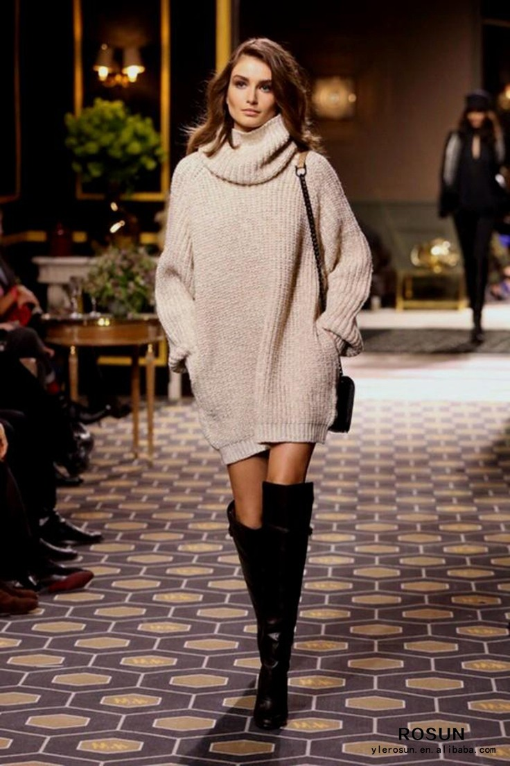 Size sweater plus turtleneck oversized dress