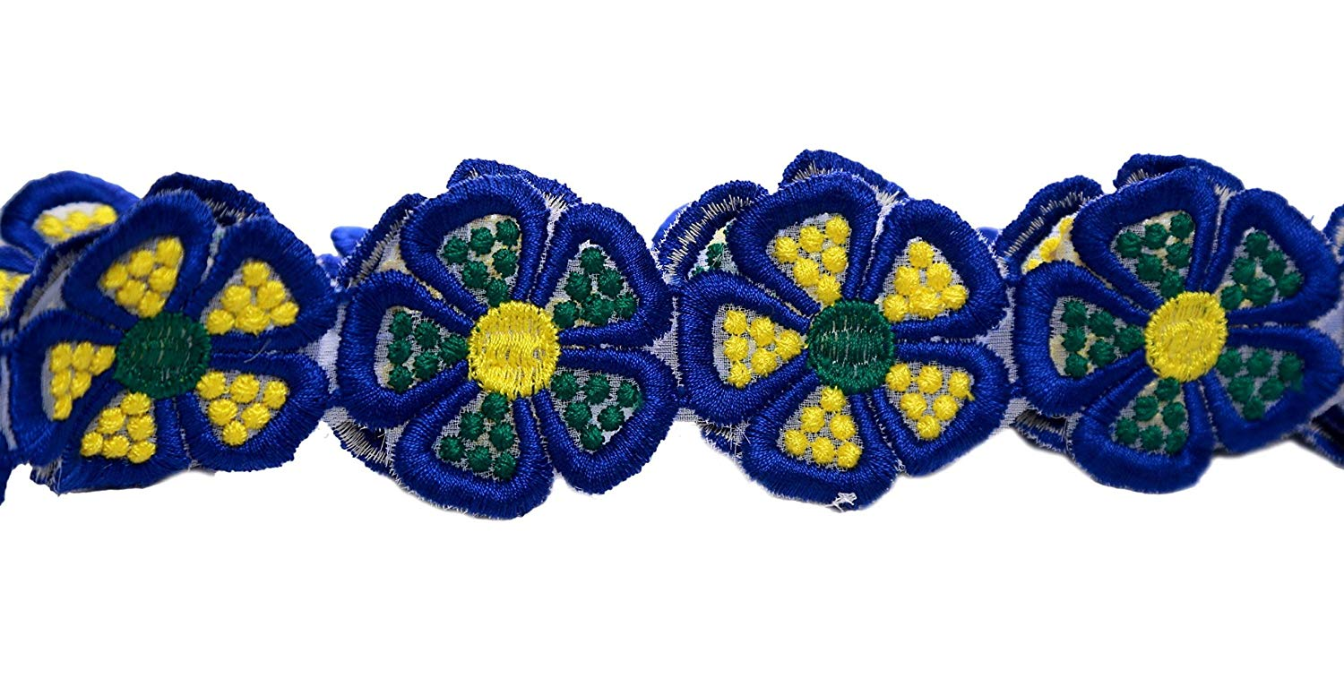 Beautiful Floral Vintage Style Lace Ribbon Dense Embroidered Pattern Trimming Bridal Wedding Scalloped Edge 58mm Wide M34880 (Royal Blue & Yellow (5-Meter))