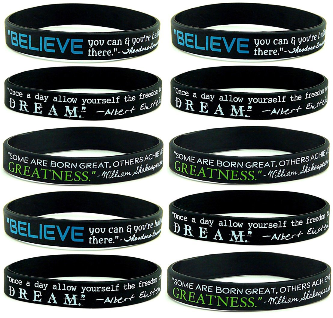 10 Pack Believe Dream Greatness Inspirational Quote Silicone