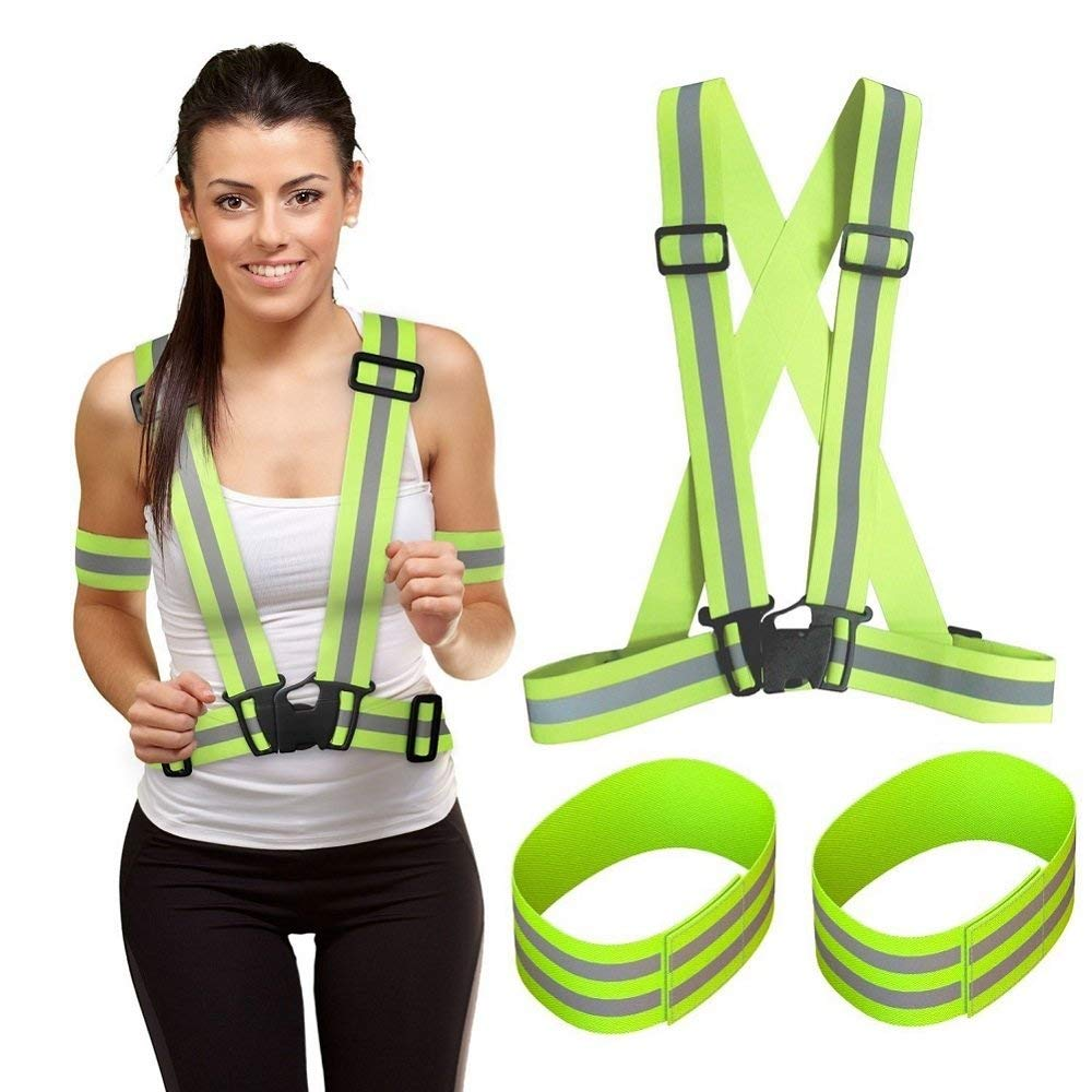 ShineU Reflective Safety Vest with Hi Vis Bands, High Visibility Adjustable Lightweight Reflective Running Gear in Day and Night, Reflective Suspenders Fit Walking Jogging Cycling - Reflective Armband